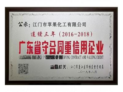 2018年度广东省守合同重信用企业